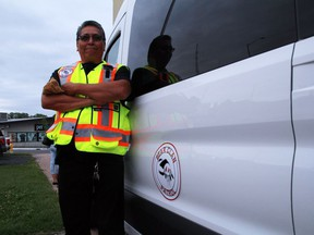 Darryl Redsky, a coordinator with the Bear Clan Patrol in Kenora is shown outside the Kenora Legion, where the provincial government announced an additional $800,000 in funding for the chapter on Friday, July 24.