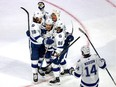 EDMONTON, ALBERTA - SEPTEMBER 25: Yanni Gourde #37 of the Tampa Bay Lightning is congratulated by his teammates after scoring a goal against the Dallas Stars during the second period in Game Four of the 2020 NHL Stanley Cup Final at Rogers Place on September 25, 2020 in Edmonton, Alberta, Canada.