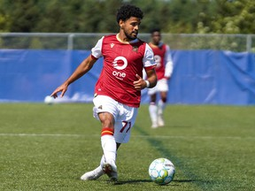 Valour FC attacker Federico Pena in action against FC Edmonton at the Canadian Premier League Island Games tournament in Charlottetown, P.E.I., on Saturday.