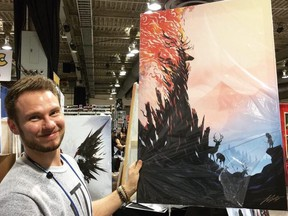 Justin Currie with one of his illustrations.