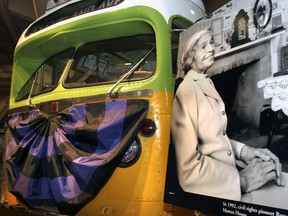 The bus made famous by civil rights pioneer Rosa Parks sits on display at The Henry Ford Museum in Dearborn, Michigan.