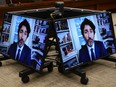 Prime Minister Justin Trudeau appears as a witness via videoconference during a House of Commons finance committee in the Wellington Building on Thursday, July 30, 2020.
