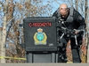 A police officer packs up a drone after it was deployed on Churchill Drive in Winnipeg after a body was discovered in the Red River on Mon., Oct. 12, 2020. Kevin King/Winnipeg Sun/Postmedia Network
