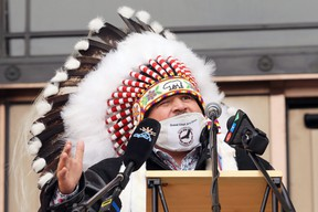 Jerry Daniels, Grand Chief of the Southern Chiefs' Organization, speaks from the steps of the Manitoba Legislative Building in Winnipeg on Wednesday, Oct. 21, 2020.