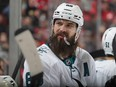 Brent Burns of the San Jose Sharks takes a break during the game against the New Jersey Devils at the Prudential Center on February 20, 2020 in Newark, New Jersey