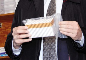 A packet of illegal cigarettes