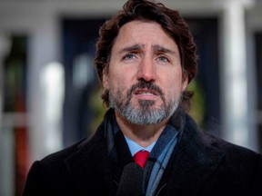 Prime Minister Justin Trudeau is pictured at an Ottawa press conference on Dec. 18, 2020.