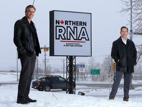 Brad Sorenson, left and Brad Stevens with Northern RNA were photographed at the company's northeast Calgary facility on Monday, Jan. 25, 2021.