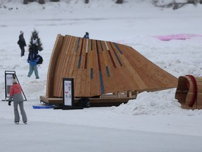 People skate on the Assiniboine River, at The Forks, near The Benesii warming hut on Saturday.