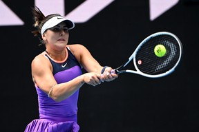Canada's Bianca Andreescu in action during her first round match against Romania's Mihaela Buzarnescu at the Australian Open at Melbourne Park in Melbourne February 8, 2021.