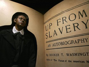 A wax figure of Booker T. Washington is seen on exhibit at the the National Great Blacks in History Musuem in Baltimore, Maryland, 13 February 2006.