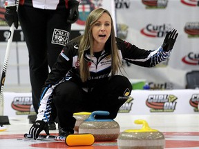 Skip Rachel Homan of the Ottawa Curling Club yells instructions to her team during the Scotties Tournament of Hearts Provincial Championship in Cornwall, Jan. 28, 2020.