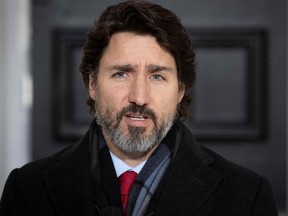 In this file photo Prime Minister Justin Trudeau speaks during a COVID-19 briefing at Rideau Cottage in Ottawa, Dec. 18, 2020.