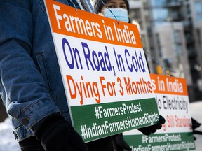 A group of Indo-Canadians have been protesting outside the Indian High Commission in Ottawa in solidarity with farmers protesting in Delhi.