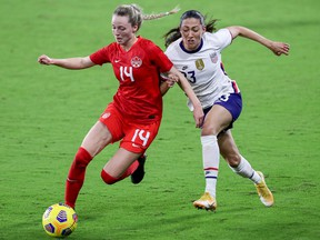Gabrielle Carle (No. 14) of Canada controls the ball against Christen Press (No. 23) of United States during the SheBelieves Cup at Exploria Stadium on February 18, 2021 in Orlando, Florida.