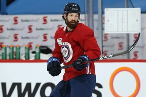Jordie Benn takes part in Jets practice this week at Bell MTS Place. The veteran defenceman will make his debut with Winnipeg on Thursday, 10 days after he was acquired from Vancouver at the NHL trade deadline.