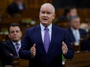 Conservative Party leader Erin O'Toole responds to the government's fiscal update, the Fall Economic Statement 2020, in the House of Commons, in Ottawa, Nov. 30, 2020.