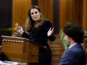 Finance Minister Chrystia Freeland delivers the budget in the House of Commons on Parliament Hill in Ottawa, Monday, April 19, 2021.