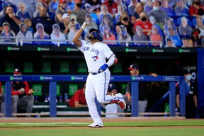 Blue Jays' Vladimir Guerrero Jr. reacts to his a grand-slam home run in the third inning against the Washington Nationals at TD Ballpark on April 27, 2021 in Dunedin, Fla.