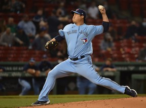 Blue Jays starting pitcher Hyun Jin Ryu delivers during the third inning against the Red Sox at Fenway Park in Boston on Tuesday, April 20, 2021.