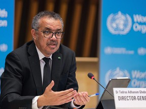 This handout picture taken and released on February 12, 2021 by World Health Organization (WHO) shows Director-General Tedros Adhanom Ghebreyesus delivering remarks during a press conference on February 12, 2021 in Geneva.