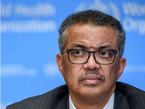 This file photo taken on March 11, 2020, shows World Health Organization (WHO) Director-General Tedros Adhanom Ghebreyesus attending a press briefing on COVID-19 at the WHO headquarters in Geneva.