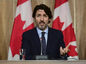 Prime Minister Justin Trudeau holds a press conference in Ottawa on Friday, May 7, 2021, during the COVID-19 pandemic.