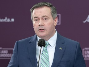 Alberta Premier Jason Kenney is pictured in Edmonton providing an an update on Alberta's COVID-19 vaccine distribution on Monday, April 26, 2021.