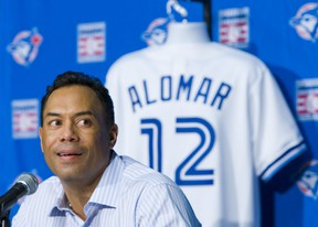 Roberto Alomar addresses the media at the Rogers Centre in Toronto on Tuesday July 19, 2011. The Toronto Blue Jays announced that Hall of Fame second baseman Roberto Alomar will have his #12 retired by the organization.