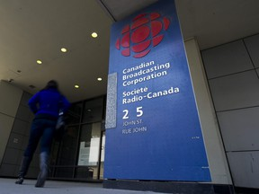 The Toronto headquarters of the Canadian Broadcasting Corporation is photographed on April 4, 2012.