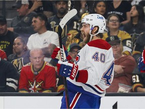 Canadiens' Joel Armia celebrates after scoring the first goal Wednesday night at T-Mobile in Las Vegas.