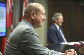 """Dr. Brent Roussin, Manitoba's chief public health officer, discusses Manitoba's """"Reopening Path"""" at COVID update at the Legislative Building Wednesday, June 23, 2021. Ruth Bonneville/Pool/Winnipeg Free Press"""