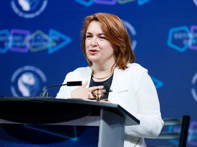 Newly-elected Canadian Labour Congress President Bea Bruske speaks after her election victory on Friday, where she pledged to work to unite the labour movement.