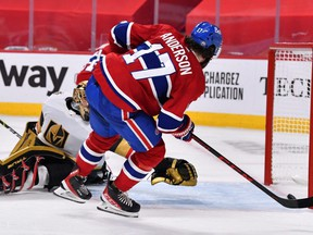 Canadiens forward Josh Anderson scores the game-winning goal past Marc-Andre Fleury of the Golden Knights during the first overtime period in Game 3 of the Stanley Cup Semifinals at the Bell Centre in Montreal, Friday, June 18, 2021.