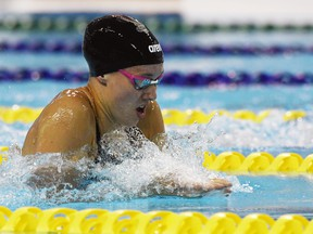 In the women's 100-m breaststroke at the Olympic Swimming Trials in Toronto on Sunday, June 20, 2021, Kelsey Wog was the first to touch the wall defeating Rachel Nicol of Lethbridge, Alta., (1:07:31) and Kierra Smith of Kelowna, B.C., (1:07:72). The Winnipeg native and member of the University of Manitoba Bisons set a personal best 1:06:77 to qualify for nomination for the Tokyo Olympics.