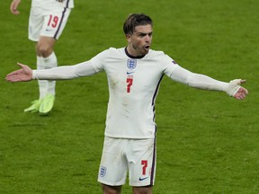 England's Jack Grealish reacts during a Euro 2020 game against Scotland at Wembley Stadium in London on June 18, 2020.