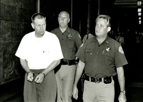 James King, white shirt, a former cop is still the prime suspect in the massacre. He was acquitted at trial.