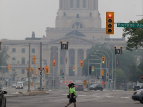 Smoke from numerous wildfires has settled over Winnipeg, which has resulted in poor air quality and reduced visibility on Tuesday, July 20, 2021.