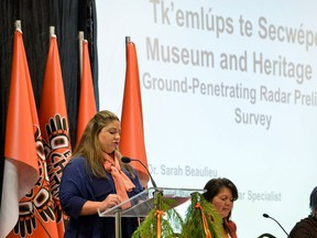 GPR specialist Dr. Sarah Beaulieu presents the findings on 215 unmarked graves discovered at Kamloops Indian Residential School in Kamloops, British Columbia, Canada, July 15, 2021.