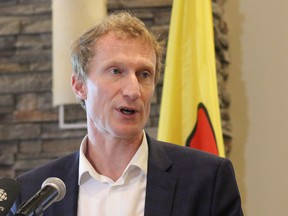 Indigenous Services minister Marc Miller speaks to media at the Frobisher Inn in Iqaluit, Nunavut on Friday July 23, 2021. THE CANADIAN PRESS/Emma Tranter