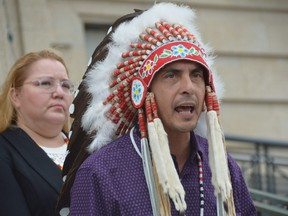 In a fiery and impassioned speech on the steps of the Manitoba Legislature in Winnipeg, Assembly of Manitoba Chiefs Grand Chief Arlen Dumas took direct aim at Manitoba Indigenous Reconciliation and Northern Relations Minister Alan Lagimodiere, after he made comments last week defending the intentions of Canada's residential school system.