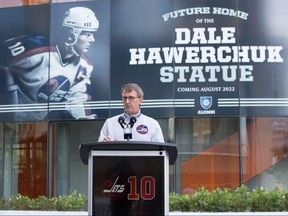 Winnipeg Jets owner Mark Chipman talks about True North Sports + Entertainment (TNSE) and the Jets plan to honour Jets alumnus and Hall of Famer Dale Hawerchuk through a number of initiatives over the coming year. True North Sports and Entertainment photo