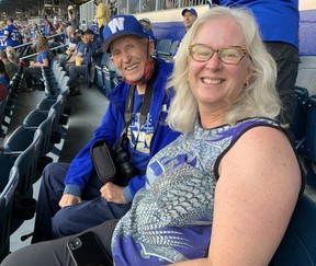 Laura McMaster called up the Bombers and explained that she'd need a wheelchair to get her father Ron, 90, to his seat. Last night, they attended the first unlimited-capacity sporting event in Canada since the start of the pandemic. Paul Friesen/ Winnipeg Sun