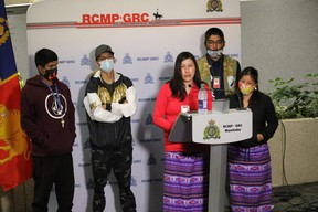 Hazel Moose, sister of murder victim Bobbie Lynn Moose, speaks with media at RCMP Manitoba Headquarters on Tuesday with support from other family members. James Snell/Postmedia