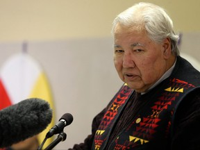 Sen. Murray Sinclair speaks during the official launch of the Healing Forest Winnipeg at St. John's Anglican Cathedral Hall on Mon., Feb. 12, 2018.