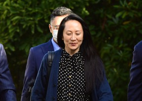 Huawei CFO Meng Wanzhou leaves her Vancouver home to attend her extradition hearing on Friday, Sept. 24, 2021.