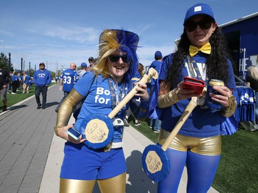 The appropriate colours and props for Winnipeg Blue Bombers fans in the tailgate area ahead of the Banjo Bowl battle against the Saskatchewan Roughriders in Winnipeg on Saturday, Sept. 11, 2021.