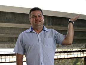 Winnipeg City Councillor Jeff Browaty (North Kildonan) poses for a photo near The Forks Market on Monday. Browaty is pitching the idea of bridge name signs on the underside of local bridges to help waterway users orient themselves.